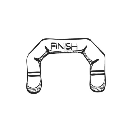 air: Finish line icon in doodle sketch lines. Air tube inflatable Illustration