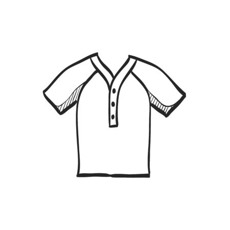 line drawings: Baseball jersey icon in doodle sketch lines. Sport championship uniform team wear