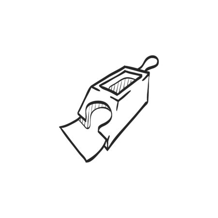 simple: Playing cards dispenser icon in doodle sketch lines. Game gambling leisure tool equipment casino Illustration
