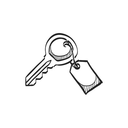 home icon: Key icon in doodle sketch lines. Safety protection house home property