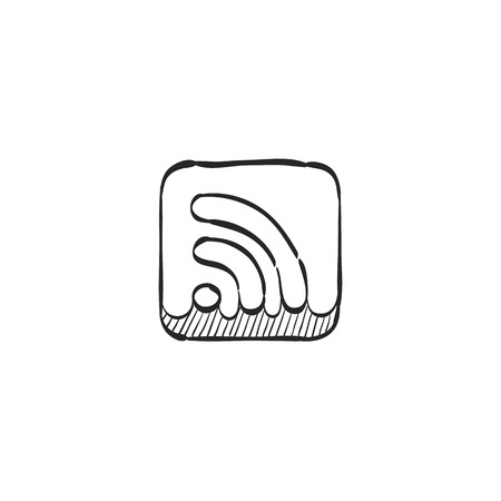 line drawings: Cup icon with RSS symbol in doodle sketch lines. Reader feed syndication news