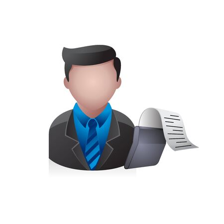 internet user: Businessman avatar icon in colors.