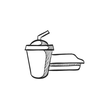website buttons: Soft drink icon in doodle sketch lines. Junk fast food high sugar Illustration