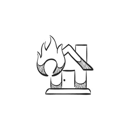 sabotage: House fire icon in doodle sketch lines. Nature disaster sabotage accident insurance risk claim Illustration