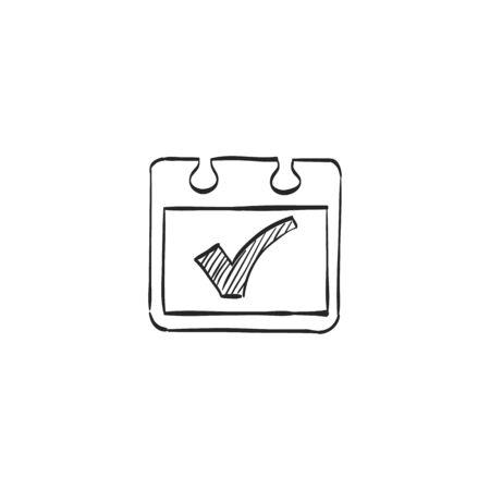 calendar icon: Available label icon in doodle sketch lines. Calendar job work assignment freelance