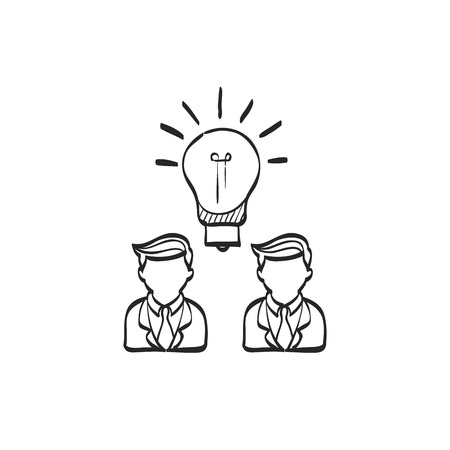 communication icons: Teamwork icon in doodle sketch lines. Business communication discussion idea solution solving challenge