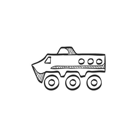 vehicle icon: Armored vehicle icon in doodle sketch lines. Military army transportation bullet proof