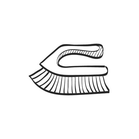 Brush icon in doodle sketch lines. Toilet sanitary cleaner wet bathroom