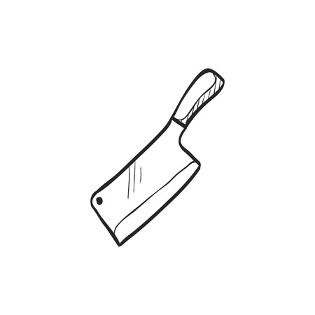 stainless: Butcher knife icon in doodle sketch lines. Kitchen restaurant chef tool meat sharp