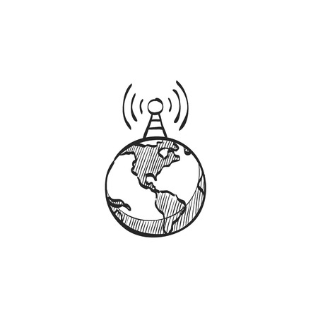 Globe icon in doodle sketch lines. Earth map kartography education school instrument Illustration
