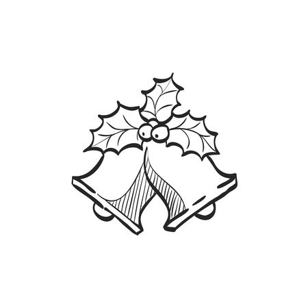 落書きスケッチ線のクリスマス ベルのアイコン。お祝いシーズン 12 月装飾  イラスト・ベクター素材