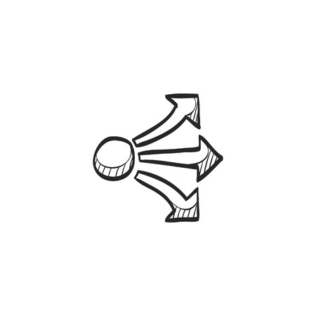 sprawl: Propagate arrows icon in doodle sketch lines. Business management human resources administration Illustration