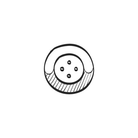 metallic: Button icon in doodle sketch lines. Fashion tailor dressmaker sewing