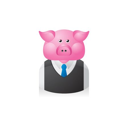 brown: Pig Businessman avatar icon in colors.