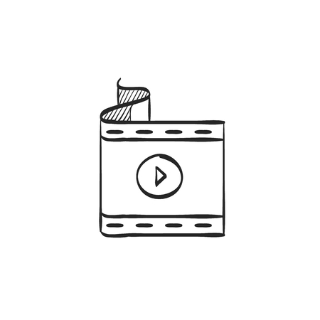 website: Cinema film icon in doodle sketch lines. Computer data movie streaming online download
