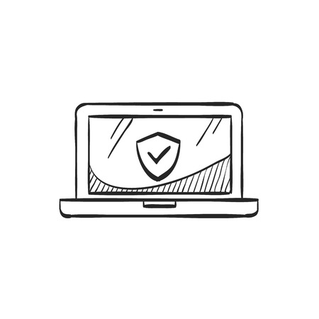 screen: Laptops icon in doodle sketch lines. Electronic computer network antivirus malware adware virus detection