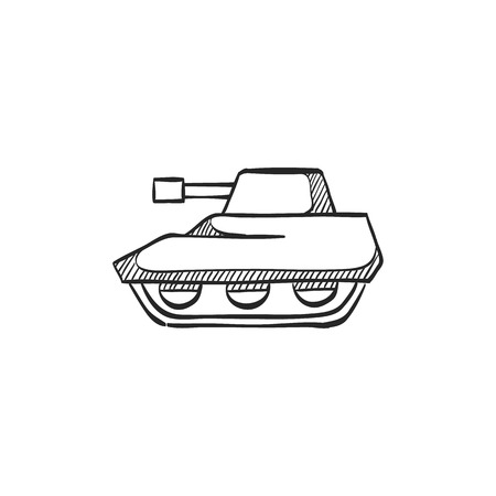 Tank icon in doodle sketch lines. Military weapon war. Иллюстрация