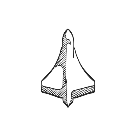 Supersonic airplane icon in doodle sketch lines. Aircraft speed passenger aviation airliner Illustration
