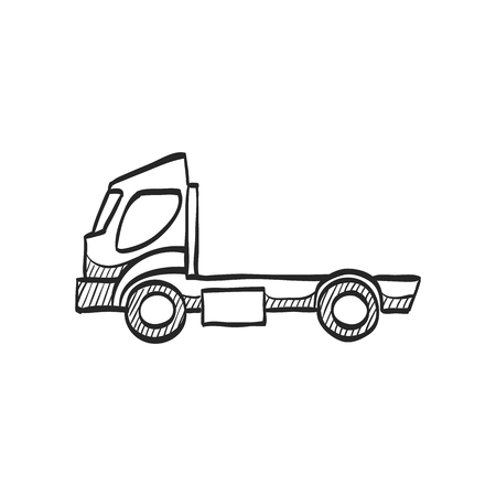 heavy: Empty container lift truck icon in doodle sketch lines. Automobile car industry logistic distribution shipping