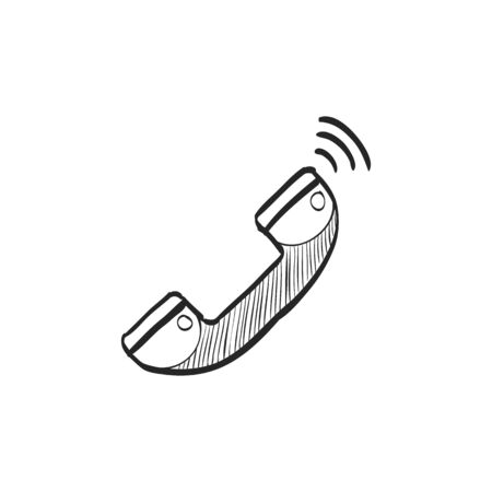 contact: Landline telephone icon in doodle sketch lines. Communication, local, vintage