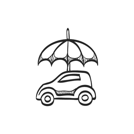 auto service: Car and umbrella icon in doodle sketch lines. Insurance protection investment transportation