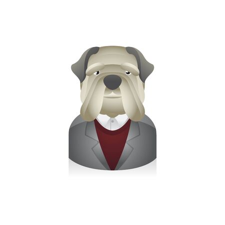 Dog Businessman avatar icon in colors.