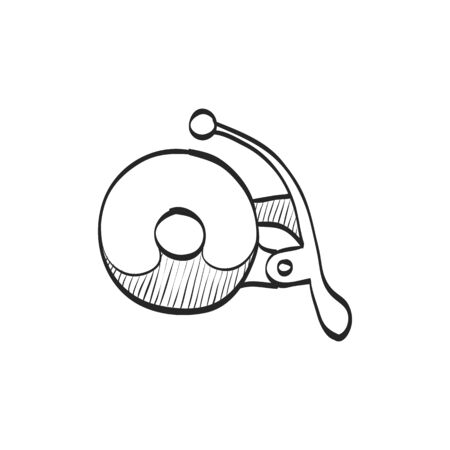 website: Bicycle bell icon in doodle sketch lines. Transportation sport cycling ride ring sign sound
