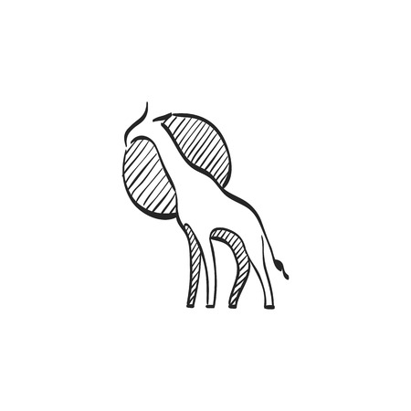 tropical: Giraffe icon in doodle sketch lines. Animal mammal herbivore Africa savanna tall Illustration