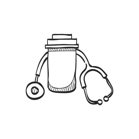 line drawings: Pills bottle stethoscope icon in doodle sketch lines. Vitamin medicine drugs painkiller addiction doctor instrument