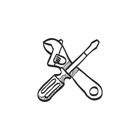 spare: Mechanic tools icon in doodle sketch lines. Wrench screw driver mechanic setting maintenance professional setting Illustration