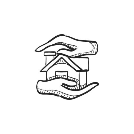 home icon: Property care icon in doodle sketch lines. House human hand palm insurance protection