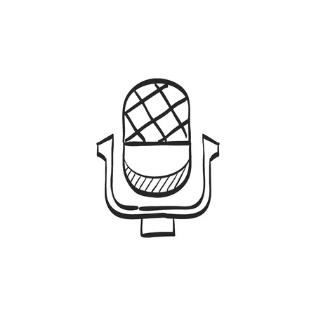 old fashioned: Microphone icon in doodle sketch lines.