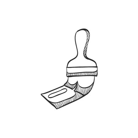 home icon: Paint brush icon in doodle sketch lines. Artist, painting, drawing, artwork Illustration