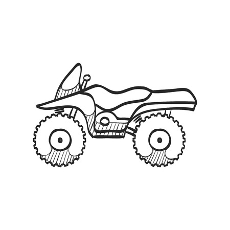 All terrain vehicle icon in doodle sketch lines. Rally offroad desert extreme sport outdoor