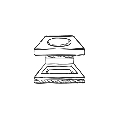 Printing magnifier icon in doodle sketch lines. Illustration