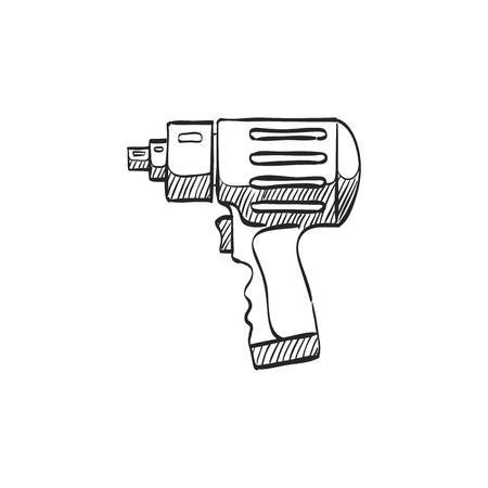 white work: Electric screwdriver icon in doodle sketch lines. Machine household work tool