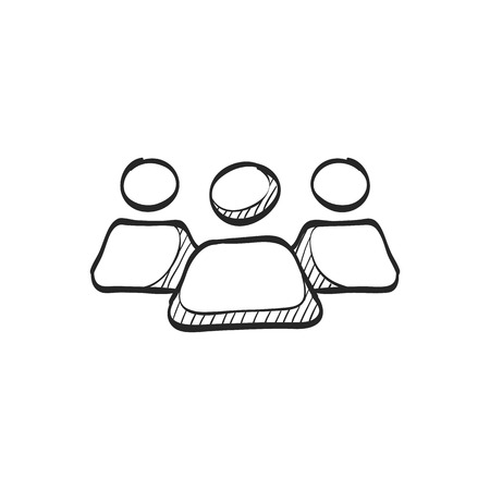 business team: Teamwork icon in doodle sketch lines. Business communication collaboration team office