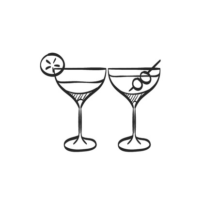 wedding couple: Wine glass icon in doodle sketch lines. Celebration couple drinking martini cocktail