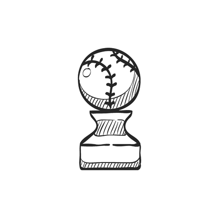 prize winner: Baseball trophy icon in doodle sketch lines. Sport champion winner team prize