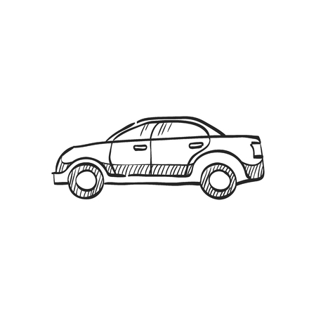 view: Car icon in doodle sketch lines. Sedan, luxury