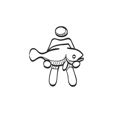 fish animal: Man holding fish icon in doodle sketch lines. Fishing fisherman catch sea animal water sport