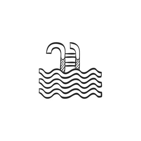 skill: Swimming pool icon in doodle sketch lines. Athlete fitness water sport skill Illustration