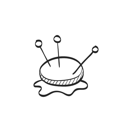 line drawings: Pincushion icon in doodle sketch lines. Needle tailor store fashion industry