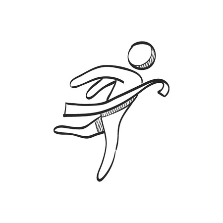 Finish line icon in doodle sketch lines. Sport runner marathon competition winning champion Illustration