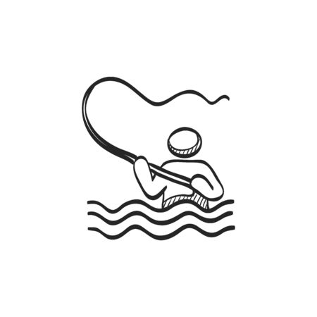 line drawings: Fishing icon in doodle sketch lines. Sport leisure water sea ricer lake fly