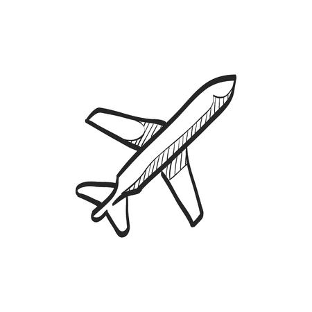 passenger transportation: Airplane icon in doodle sketch lines. Aviation transportation take-off travel passenger top view Illustration
