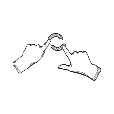 Finger Geste Symbol in doodle Skizze Linien. Gadget Touchpad Display Smartphone Laptop-Computer Illustration