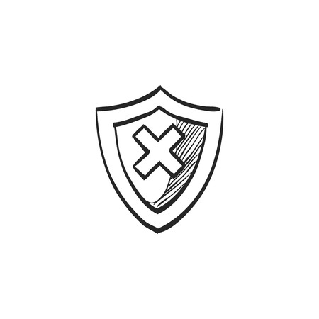 alright: Shield icon in doodle sketch lines. Protection, computer virus, antivirus