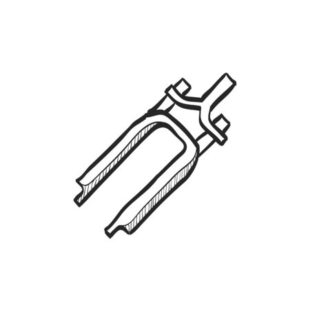 characteristic: Bicycle suspension fork icon in doodle sketch lines. Sport transportation spare part steering wheel Illustration