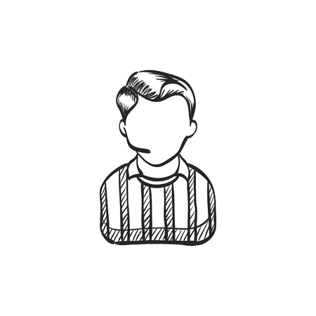 Referee avatar icon in doodle sketch lines. Sport football soccer competition game match judge